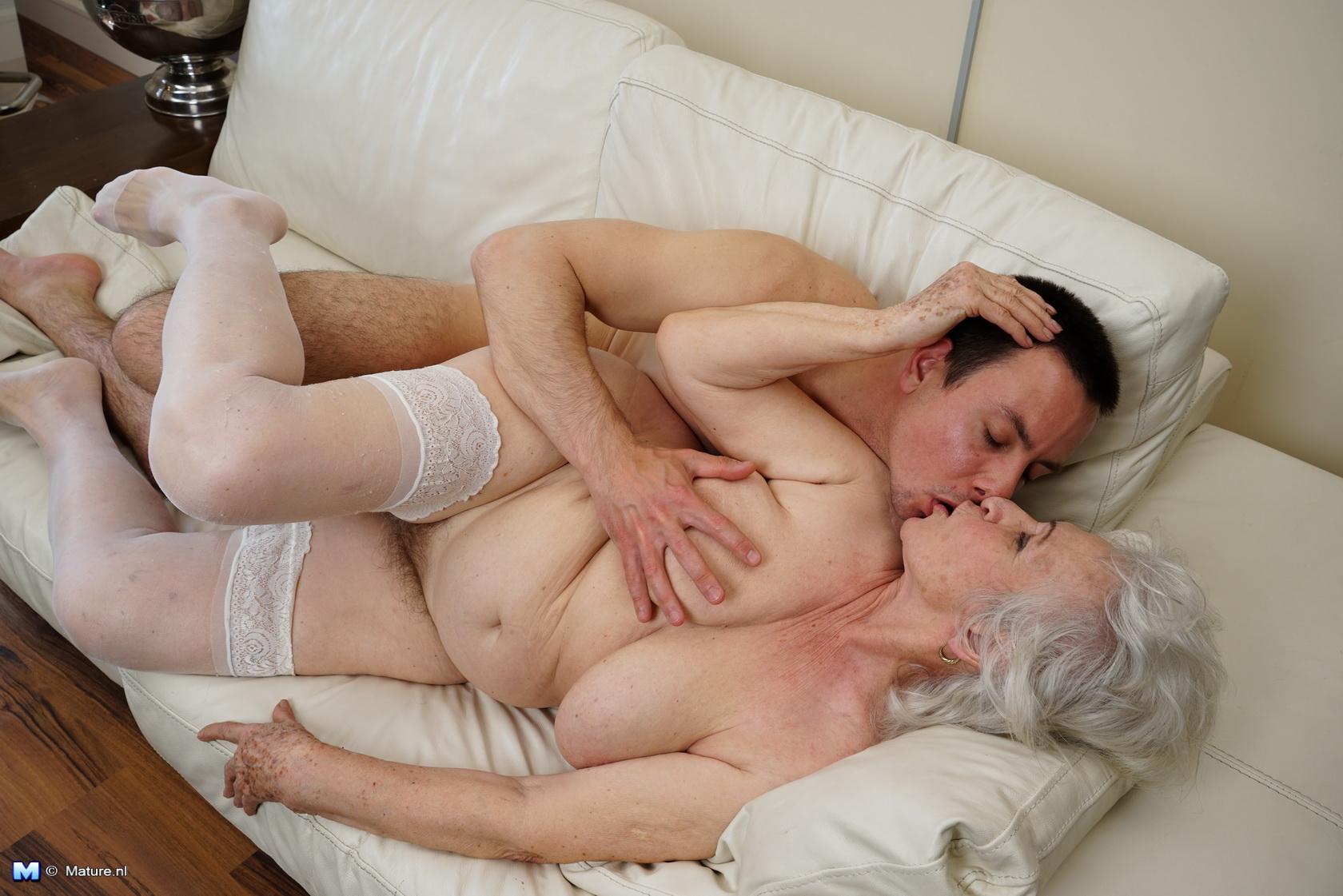 Hairy granny and boy
