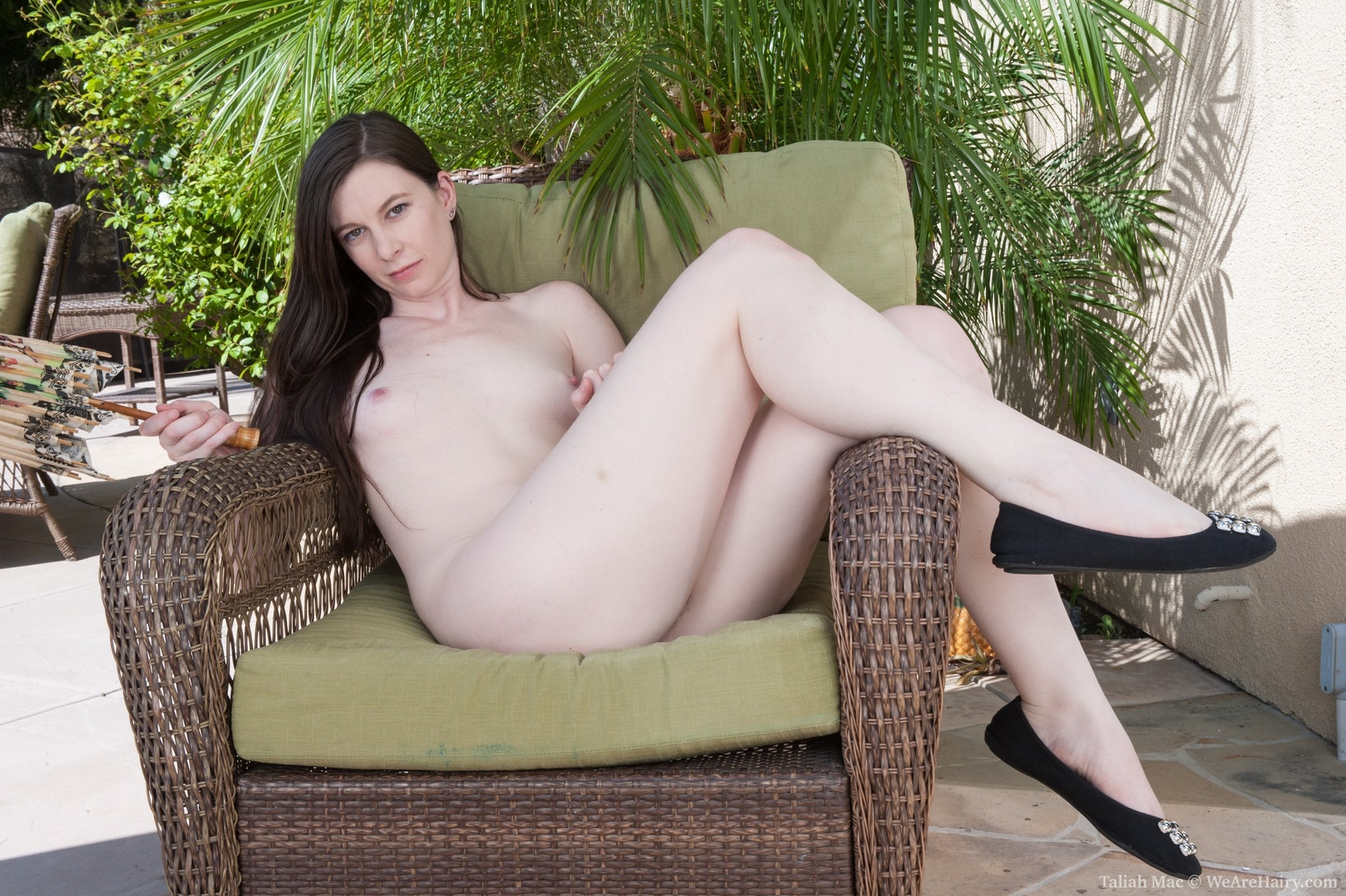Girl chair in hairy nude sitting